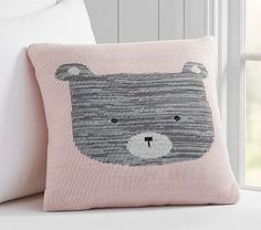 Yvette Knitted Bear Nursery Decorative Pillow, 16x16 Inches, Pink Multi