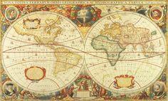 Antieke wereldkaart De antieke wereldkaart in stijl.    De originele kaart is gemaakt door de Henricus Hondius en gedrukt in 1641.  De weergave van deze kaart is van uitzondelijk goede kwaliteit voor die tijd. De maker heeft zijn eigen portret ook rechtsonder  in de afbeelding geplaatst. Het werelddeel Australie ontbreekt op de kaart, omdat dit nog niet was ontdekt.  416 cm breed x 251 cm hoog Prijs 89,95