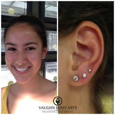 Gina has been patiently waiting to get her second and third lobe piercings. She stopped in and chose a lovely pair of Anatometal prong set 4mm champagne gems for her healed lobes and added a 3mm and...