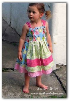 Apron Front Knot Tie Girls Twirl Dress by SouthernBabiesEtsy, $46.00