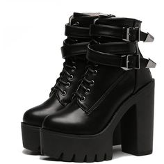 APRIL FLASH SALE- BUCKLE HIGH TOP BOOTS ($60) ❤ liked on Polyvore featuring shoes, boots, high heeled footwear, grunge boots, real leather boots, platform boots and leather high heel boots
