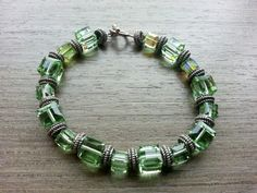 Vintage Green Swarovski Cubic Crystal and Silver Tone Beads Bracelet Costume Jewelry Arm Candy Party FREE SHIPPING on Etsy, USD $33.09 / HKD $250.00