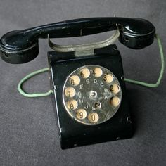 The little black antique toy telephone by MademoiselleChipotte, $89.00