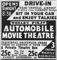 "1st Drive in theater opens on June 6, 1933 in Camden, New Jersey. The opening film was a British comedy ""Wives Beware"""