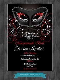 Masquerade Party Invitation - Mardi Gras Party Invitation -