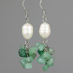 Jade Pearl dangling chandelier earrings by AnniDesignsllc on Etsy
