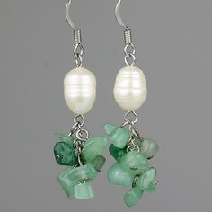 This chandelier earrings are handmade using semi precious stone jade and fresh water pearl. . Jade is the ultimate symbol of calm and serenity. It