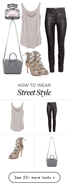 """""""street style: effortless night out"""" by alexiszadeh on Polyvore featuring H&M, Schutz, Givenchy and Gucci"""