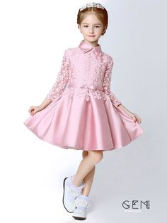 Chic / Beautiful Hall Wedding Party Dresses 2017 Flower Girl Dresses Candy Pink Short A-Line / Princess Cascading Ruffles Bow Sash High Neck Long Sleeve Flower Appliques Frocks For Girls, Kids Frocks, Little Girl Dresses, Girls Dresses, Flower Girl Dresses, Flower Girls, Dress Anak, Kids Gown, Party Frocks