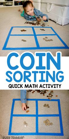 Coin Sorting Preschool Math Activity - Busy Toddler - - Ready to introduce money to your preschooler or busy big kid? Check out this easy coin sorting activity! A quick and easy math activity to try at home. Preschool Learning Activities, Fun Learning, Toddler Activities, Teaching Kids, Toddler Preschool, Montessori Preschool, Montessori Elementary, Math Sorting Activities, Learning Money