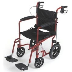Medline Transport Wheelchair with Brakes, Red  (COLOR: RED) This lightweight chair weighs just 23.5 lbs! This is the ideal chair for loading into trunk, car or airplane and the rear handles fold down for easy storage or transportation. The powder coated aluminum frame is lightweight, durable, and is available in two exciting colors. The seat is made from durable and lightweight nylon upholstery and a seatbelt is included for safety. Black composite wheels require virtually no mainten..