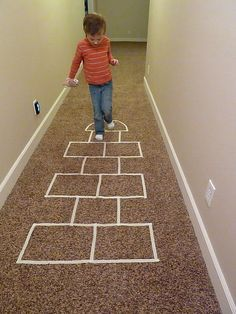 Collection of indoor games for kids using masking tape! Great for a rainy day.