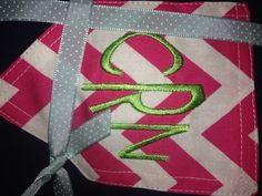 #Monogram #Chevron #GAW Hot pink chevron pocket on navy shirt with a lime green monogram