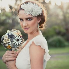 Bouquets handmade for brides using brooch and jewelry parts.