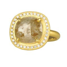 "Anne Sportun  ~  Horizontal Oval Grey Rosecut Diamond Ring (3.37ct) Prong Set in 18 Karat Yellow Gold and Pave White Diamond (0.32tcw) Bezel. 3/4"" long x 5/8"" wide."
