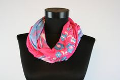 Woman infinity scarf - circle scarf - loop scarf -  hand embroidered - matyo - multicolored - blue and pink by MatyoKid on Etsy