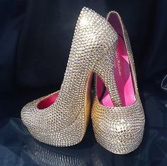 New Gold Silver Bling Diamante Crystal Shoes High Heel Platform Court Stiletto | eBay