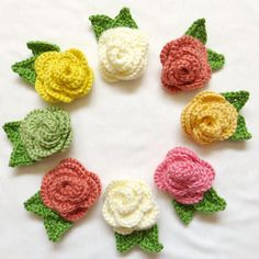 Crocheted Rose Brooches!