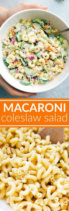 Two amazing summer side-dishes collide into one insanely tasty Macaroni Coleslaw Salad! Perfect for a potluck or summer get-together!