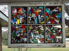 pinecrest crafts Old Window | Glasscherben zu einem bunten Mosaik verarbeitet, setzen dieses Fenster ...