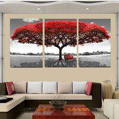 3PCS Red Tree Unframed Landscape Modern Abstract Art Oil Painting Wall Decor