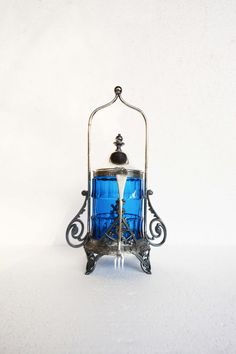 "Vintage Pickle Castor with Cobalt Blue Glass and Fork, Victorian ""Reed Barton""…"