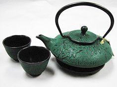 Mochi Bamboo Green Japanese Cast Iron Tea Set