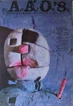 Tentoonstellingsaffiche Peter Pócs. Titel: Plakatos, 1988.   Afmetingen: 68 br.x…