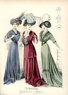 Fashion Plates and Ephemera! 1900s Fashion, Edwardian Fashion, Vintage Fashion, Ladies Fashion, Women's Fashion, Fashion Illustration Vintage, Fashion Illustrations, Art Nouveau, Outfits With Hats