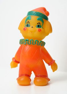 1970s Soviet Russia RUSSIAN  VINTAGE Rubber  Toy CIRCUS CLOWN , Made in USSR.