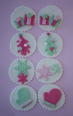 Christmas Holiday Fondant Cupcake Toppers