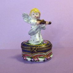 Angel Playing Violin Limoges France Hand Painted Box