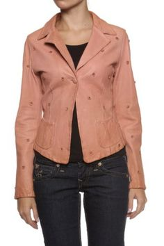 Paolo Sperotto Leather Jacket FLORET, Color: Coral, Size: 36