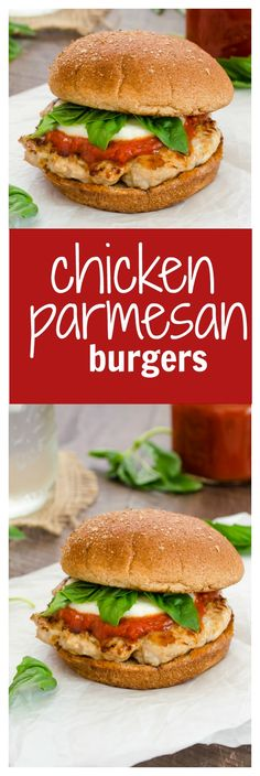 Easy Chicken Parmesan Burgers Are Juicy Ground Chicken Burgers Topped With Marinara, Fresh Mozzarella, And Basil Leaves. Presently You Can Enjoy The Classic Flavors Of Chicken Parmesan Burger-Style Flavorthemoment Clean Eating Recipes, Lunch Recipes, Paleo Recipes, Dinner Recipes, Cooking Recipes, Parmesan Recipes, Korma, Jambalaya, Ground Chicken Burgers