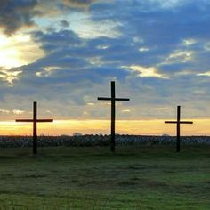 Three crosses and sunrise