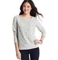 Pearlized Gem Sweatshirt - Scattered gems and pearlized beads bring the perfect pop of elegance to this super soft have-to-have. Ballet neck. Long sleeves. Banded neckline. Solid back. Wide banded cuffs and hem.