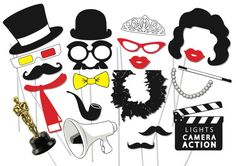 Vintage Hollywood Photo booth Party Props Set - 21 Piece PRINTABLE - Hollywood glamour Party, Photo Booth Props