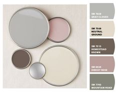 I've always loved pink with grays or browns - this is a beautiful, updated version of those palettes - Paint colors from ColorSnap by Sherwin-Williams