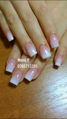 subtle white to nude ombre gel acrylic nails square with