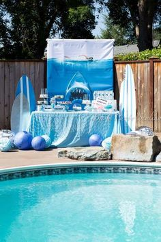 Bash Party Styling *'s Birthday / Jaws/shark - Photo Gallery at Catch My Party 4th Birthday Parties, Boy Birthday, Birthday Ideas, Megalodon, Underwater Party, Pool Party Decorations, Baby Shower, Party Ideas, Cousins