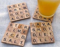 DIY scrabble coasters - these are so cute - you can totally personalize them.  Great gift