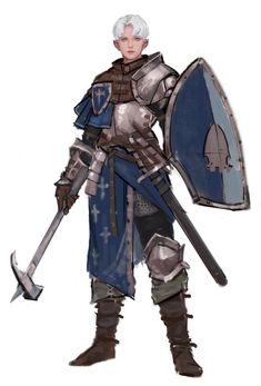 f Cleric Med Armor Shield WarHammer Sword ArtStation by Tae Chul Kang lg Dungeons And Dragons Characters, Dnd Characters, Fantasy Characters, Female Characters, Fantasy Character Design, Character Concept, Character Art, Armadura Medieval, Medieval Armor