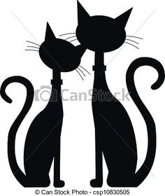 two black cats silhouette - csp10830505