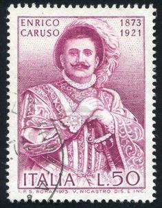 ITALY - CIRCA 1973: stamp printed by Italy, shows Enrico Caruso, Operatic Tenor, circa 1973 Stock Photo
