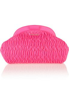 Neon leather clutch by Miu MIu