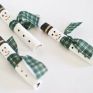 Snowman Ornaments made from Cinnamon Sticks