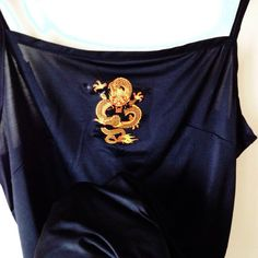 Incredible black cami / slip dress with oriental Chinese dragon motif! Silky polyester material, adjustable straps, will best fit sizes I reckon x - Sold by Oriental Dress, Foto Pose, Aesthetic Clothes, Types Of Fashion Styles, Dress To Impress, Ideias Fashion, Cool Outfits, Street Style, Style Inspiration