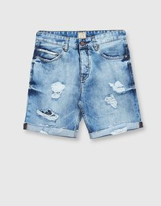 Ripped denim bermuda shorts with rolled-up hems - Shorts - Clothing - Man - PULL&BEAR Albania