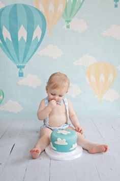 Hot air balloon first birthday, balloon birthday, boys cake smash outfit, toddler birthday outfit, b - Toddlers ideas First Birthday Balloons, Baby Boy 1st Birthday, 1st Birthday Outfits, Boy Birthday Parties, Cake Birthday, Birthday Ideas, Birthday Recipes, Birthday Nails, Hot Air Balloon Cake