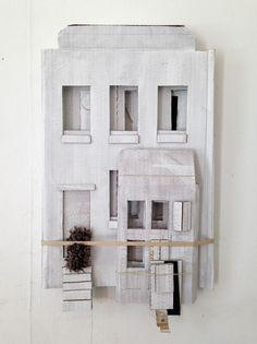 vjeranski: Camilla Engman Building myself a house. Cardboard City, Cardboard Sculpture, Sculpture Art, Cardboard Houses, Paper Houses, Art Houses, Clay Houses, Building Art, Miniature Houses